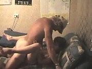 Beefy dude enjoys a hell of a blowjob from a nasty brunette who can't wait to get fucked