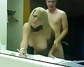 Naughty and busty blonde party belle gets her cunt blasted balls deep in the bathroom