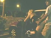 Horny blonde whore gets banged in the parking lot by a wild dude ready to misbehave