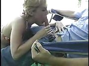 Kinky blonde gives her man a hell of a blowjob with her viciously skilled mouth