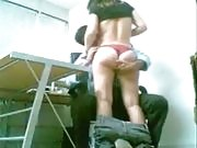 Alluring brunette strips and rides her man's hard cock into heaven in the office