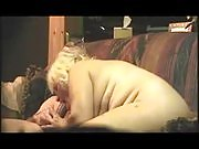 Blonde BBW woman fucked and sucking cock
