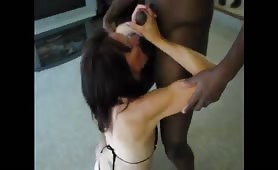 Slim Mature Takes Black Cock and Sucks a White One