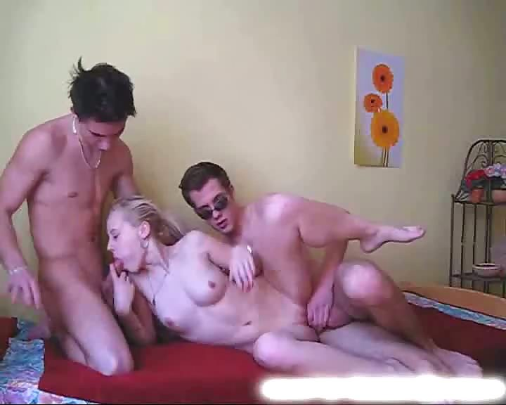 Nice students threesome on bed