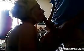 Short Haired Blonde Feeds on Dick