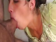 She gets face fucked and eats his cum