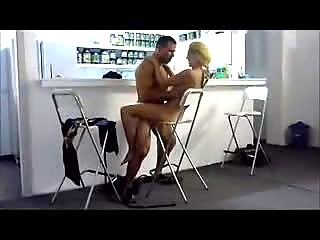 Black cock is fucking blonde chick on bar chair
