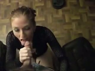 Blonde student girl sucking and riding cock