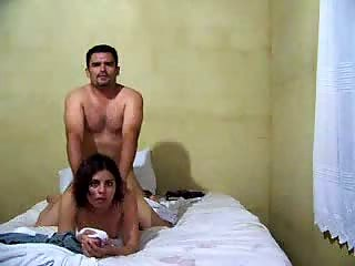 Horny dude fucking girl on bed