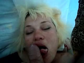 Ugly blonde wife swallows cum