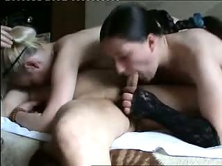 Two horny milfs loves to fuck on man