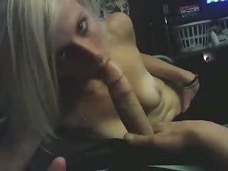 Blonde hottie blowing my cock cock