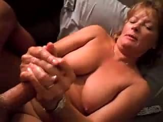 Mature wife doing handjob