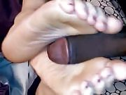 Footjob by horny wife
