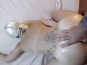 Blonde chick fucked with a thumb on her ass and a fat cock on her pussy POV