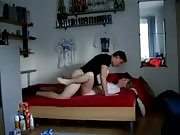 Blonde chick asked to suck his boyfriend's cock and gets fucked in his bedroom