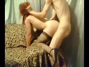 Redhead in pantyhose and heels, grabbed in the hair and fucked hard like a dog
