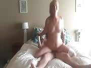 Horny blonde in corset takes the hotspot and rides boyfriend's hard cock