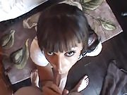 Busty brunette with bangs get down on a guy and rides his cock reverse cowgirl POV