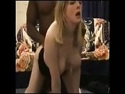 Hot chubby blonde gets fucked by a big black cock on the couch