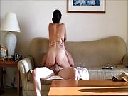 Gorgeous brunette sensual couch sex