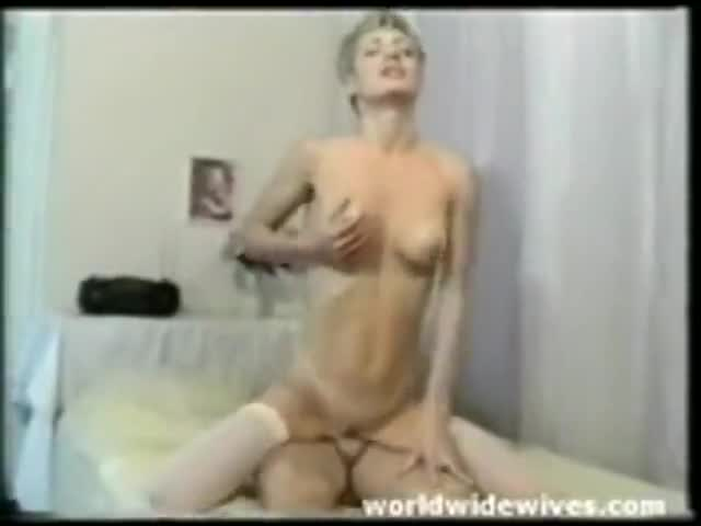 Blonde wife rides on her husband