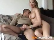 Blonde Fucking Her Husband on the Couch