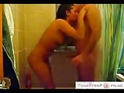 Man fucking his sexy brunette wide in shower