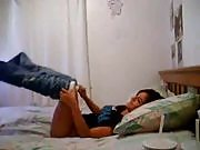 Young amateur couple record of their horny night in dorm room