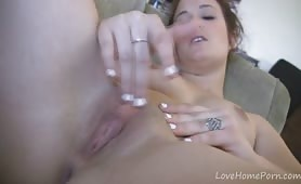 Young Babe Shows Her Pussy and Rubs it