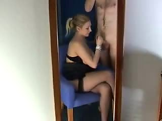 Handjob in mirror