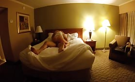 Blonde Rides Cock in a Big Bed