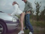 Tight blonde chick sucks cock and gets fucked on car hood