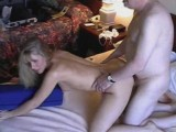 Tight amateur blonde girl gets fucked in doggystyle pose on bed