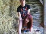 Redhead amateur cutie gets fucked by her boyfriend on his parents farm