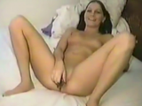 Amateur nice brunette chick shaving her pussy and masturbating too in front of webcam