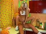 Blonde amateur hot teen riding on her best friends cock