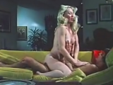 Hairy blonde chick getting fucked by her new boyfriend on couch and having many orgasms