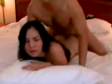 Man pounding his brunette girlfriend from behind on bed