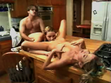 Two schoolgirls and their friend starts fucking in kitchen
