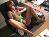 Nice brunette chick masturbating her wet pussy on chair in front of webcam