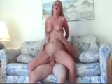 Blonde amateur girl riding her boyfriends cock after gives him amazing blowjob