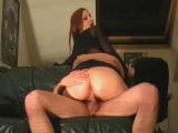 Redhead amateur horny woman riding her hubbys cock on couch