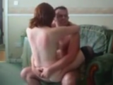Pretty redhead amateur chick gets fucked really hard by her boyfriend on arm-chair