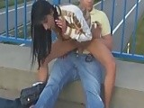 Amateur couple going wild. They are fucking totally publicly on bridge.