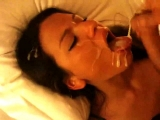 Very sexy slut takes a messy facial