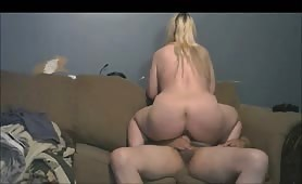 Curvy Blonde Face Sits Before Riding Cock