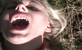 Blonde's First Outdoors Ass Fuck