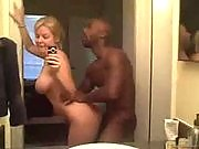 Blonde fucking with black friend