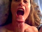 Brunette ho puts her mouth to work and gives her man a perverse blowjob